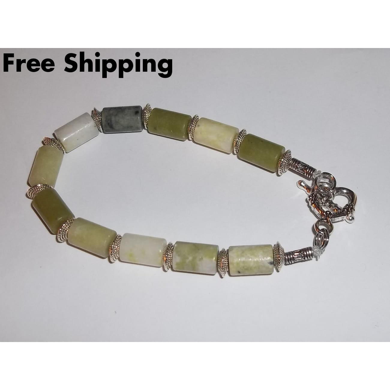Natural Jade W/ Tibetan Silver Accent Beads And Heart Toggle Clasp Hand Crafted Bracelet - Bracelets