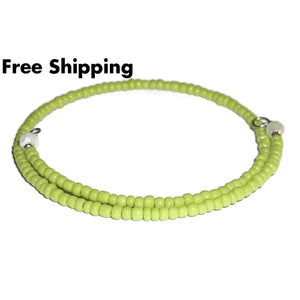 Neon Green Glass Crystal Accented Beaded Artisan Crafted Stackables Wrap Bracelet (Xs-S) - New Arrival