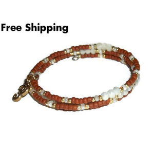 Ohm Om Symbol Terra Cotta White Crystal White & Gold Glass Beaded Artisan Crafted Wrap Bracelet ( Xs-S) - New Arrival
