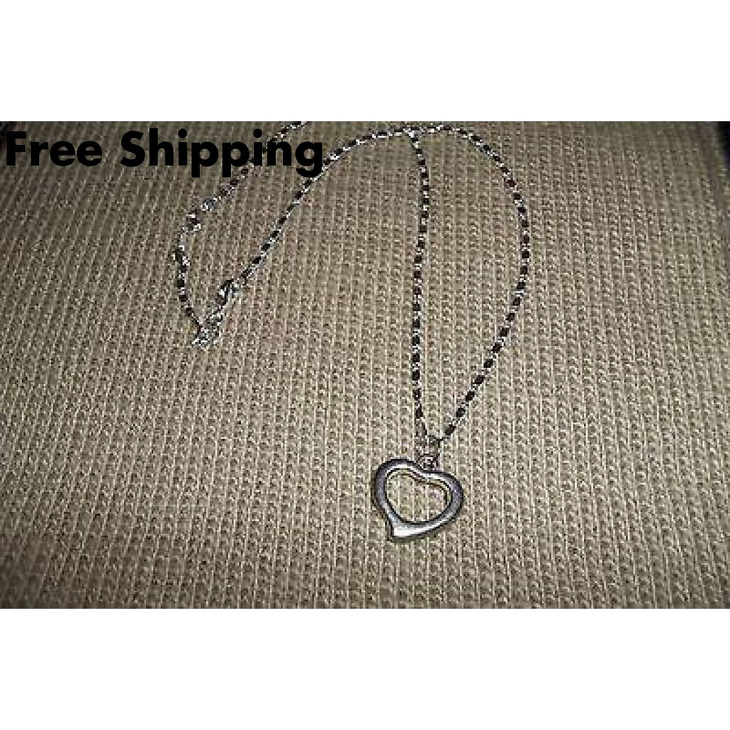 Open Heart Tibetan Silver W/ 18 Sterling Silver Chain**stamped 925** - Fine Jewelry