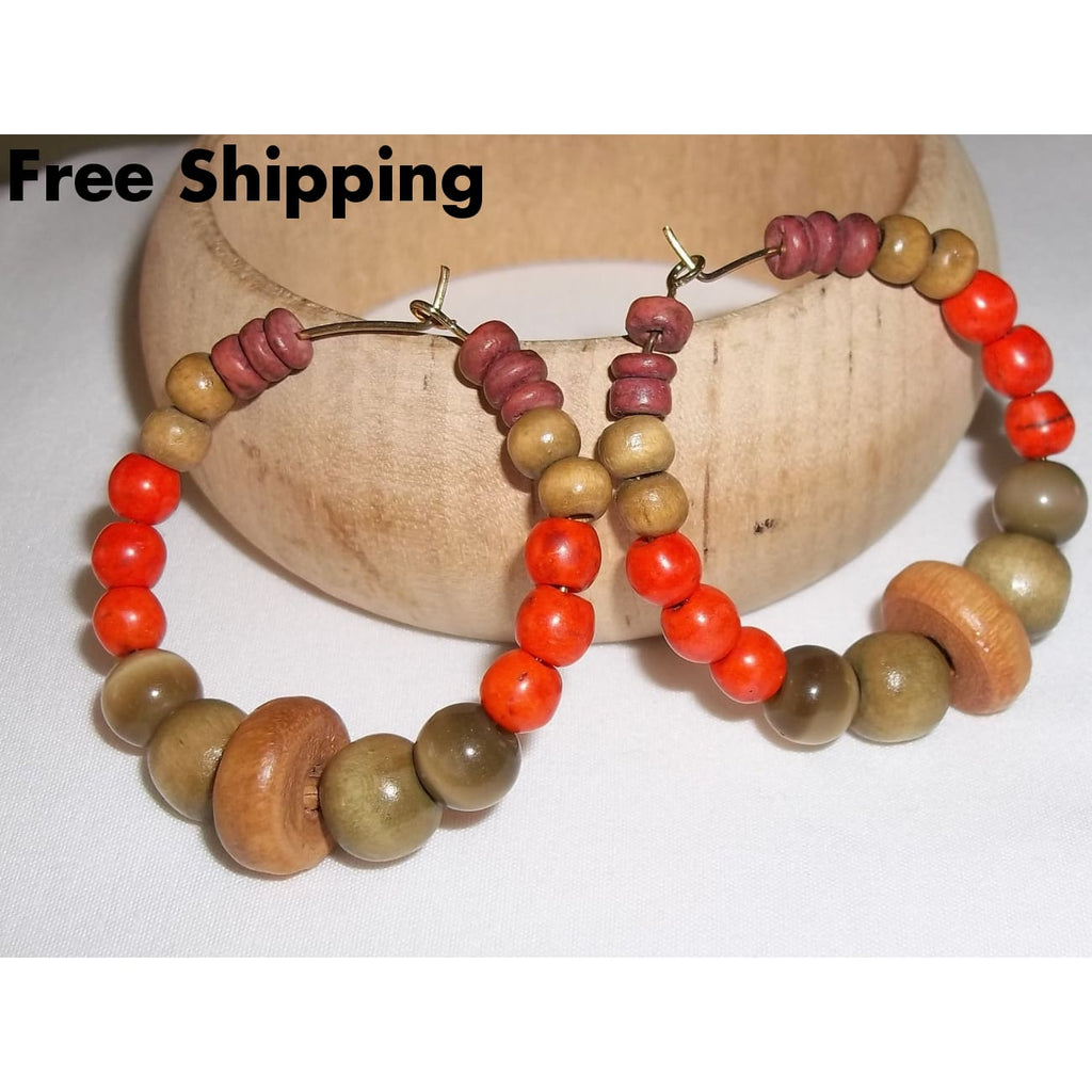 Orange Howlite Cats Eye & Wooden Beaded 40Mm Gold Tone Hoops Hand Crafted By Kats Kreations - Earrings