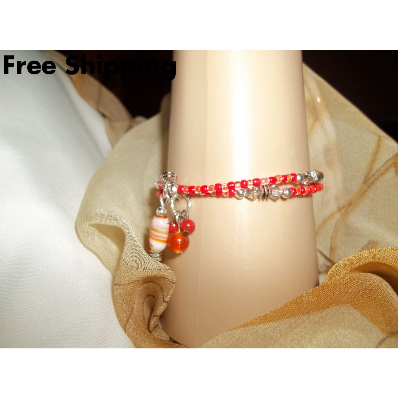 Orange Red Glass Beaded Hand Crafted Wrap Bangle Bracelet W/ Vintage Bead Dangles - Bracelets