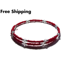 Orange Red Glass & Clear Swarovski Crystal Artisan Crafted Stackable Bracelet - New Arrival