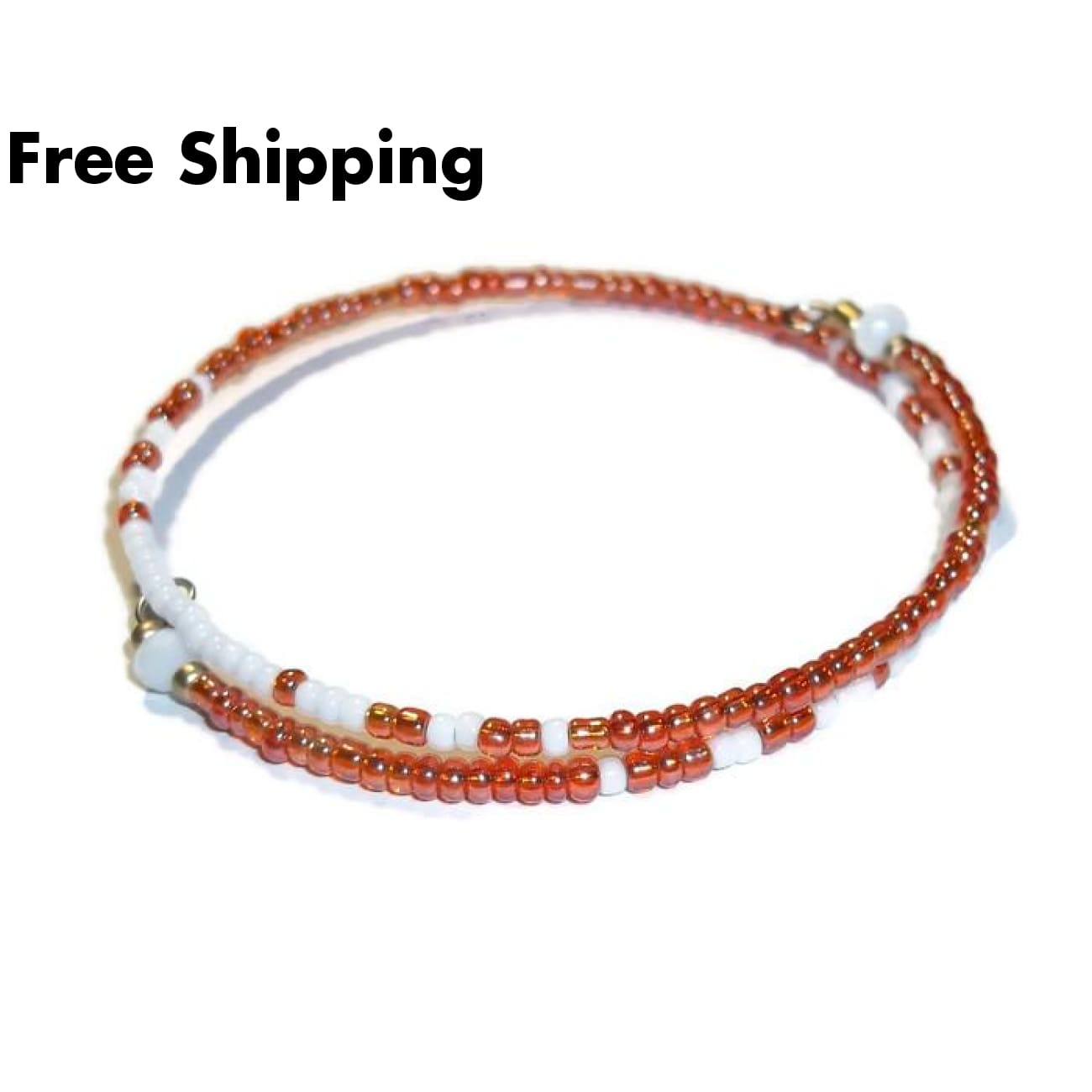 Orange & White Glass Beaded Artisan Crafted Stackables Adjustable Bracelet (Xxs-S) - New Arrival