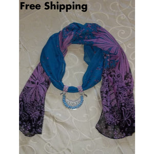 Pale Blue & Light Mauve Patterned Hand Crafted Soft Silk Scarf Pendant Necklace (One Size) - Necklaces