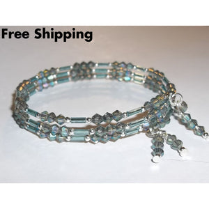 Pale Teal Crystal & Bugle Beaded Artisan Crafted Wrap Bracelet With Dangles - Bracelets