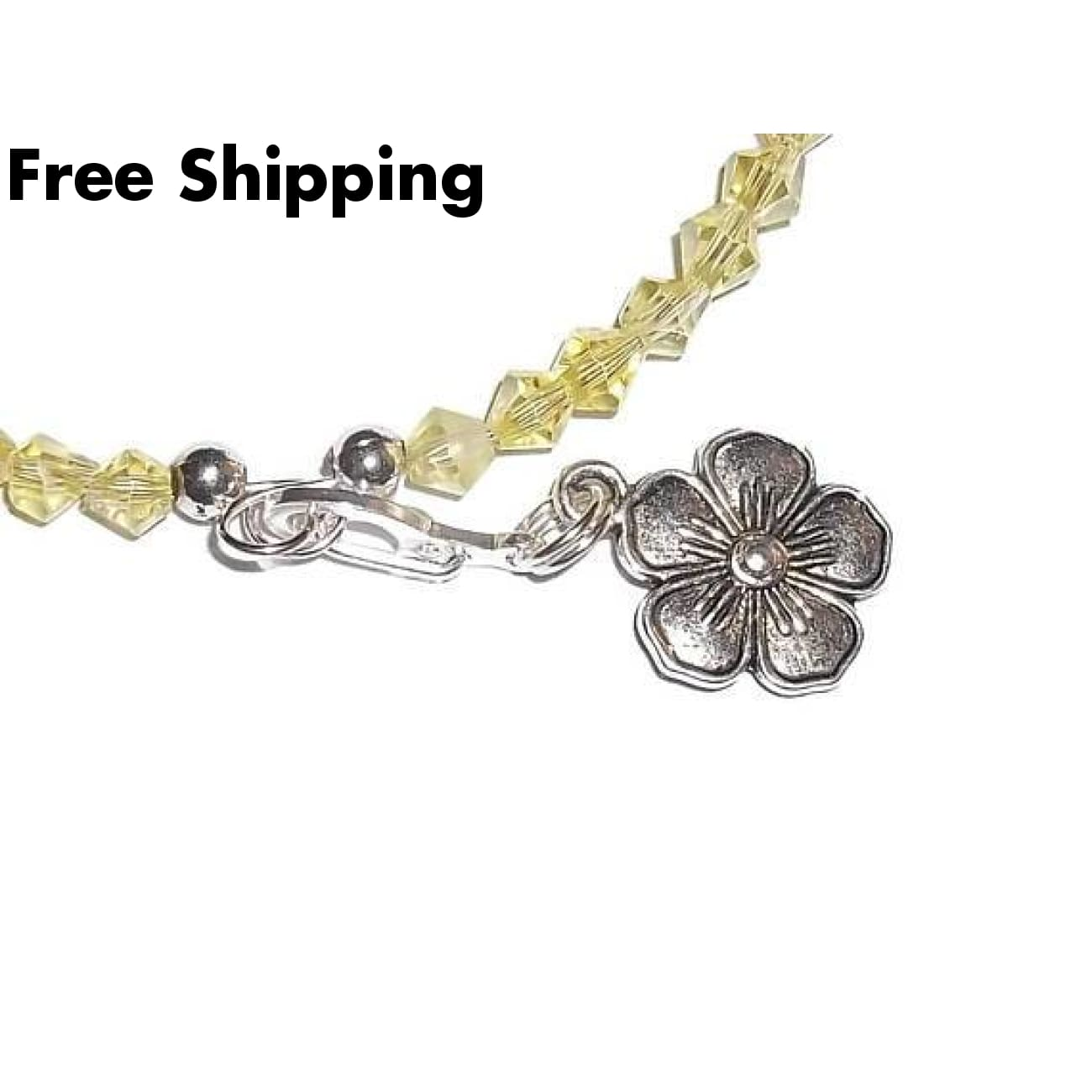 Pansy Flower Lemon Yellow Irridescent Swarovski Crystal Hand Crafted Charm Bangle Bracelet - Bracelets