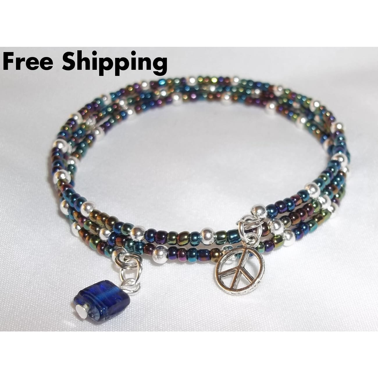Peace Boho Beaded Hand Crafted Wrap Charm Bangle Bracelet - Bracelets