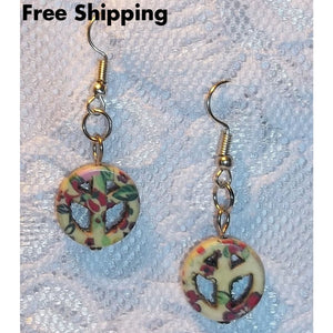 Peace Sign Cream W/ Red Floral Howlite Artisan Crafted Drop Dangle Earrings - New Arrival