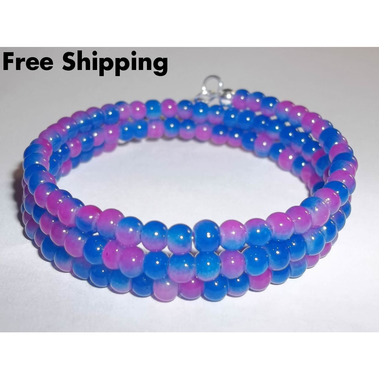 Peace Sign Pink And Blue Glass Two Tone Beaded Hand Crafted Wrap Bracelet - Bracelets