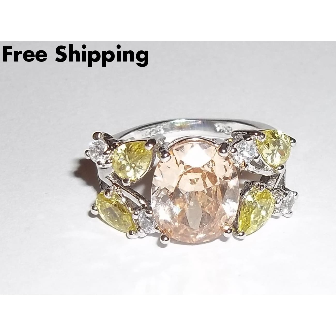 Peach Topaz With Yellow Teardrop Topaz & White Sapphire Accents .925 Sterling Silver Ring Sz8 - Rings