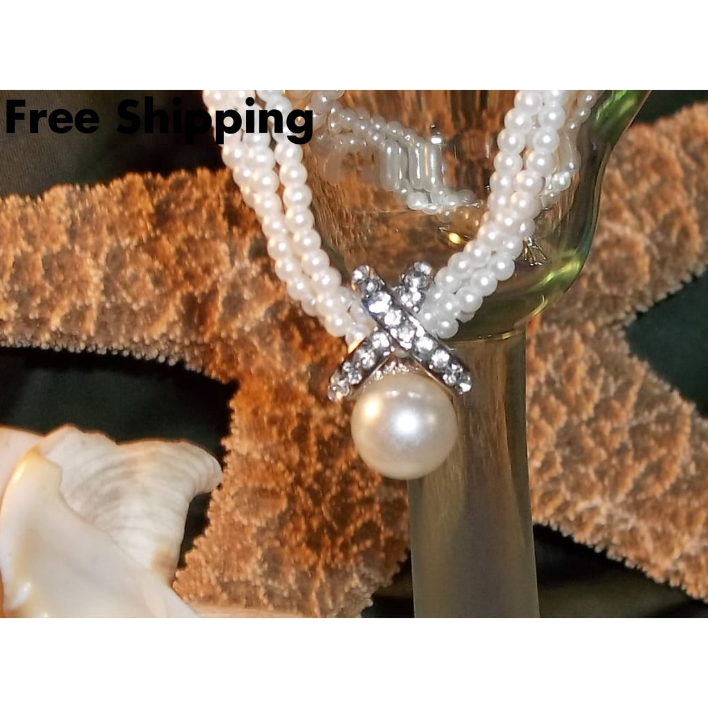 Pearl Bead & Rhinestone Pendant On A Triple Strand Pearl Bead 16 Choker Necklace - Necklaces