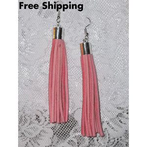 Pink Suede Leather Artisan Crafted 4 Silver Plated Dangle Earrings - New Arrival