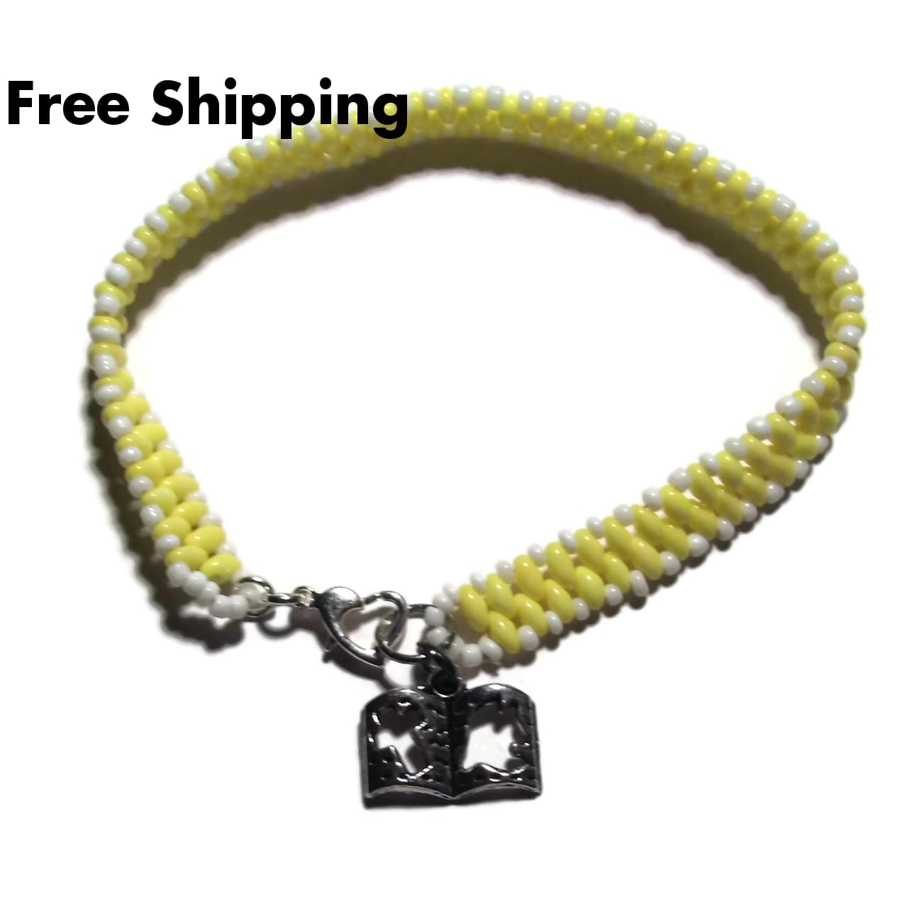 Plus Size Elegance Bible Charm Pale Yellow & White Glass Beaded Spring Easter Religious 8.25 Heart Clasp Bracelet - New Arrival