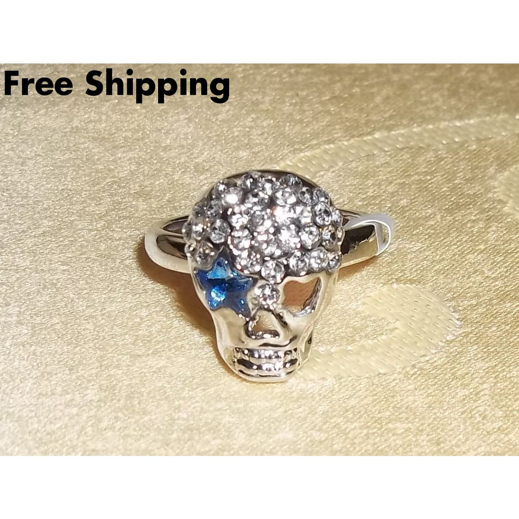 Plus Size Elegance Dallas Cowboy Themed Silver Lady Fan Crystal Skull W/ Blue Crystal Star Eye Ring (Sz 8.5) - Rings