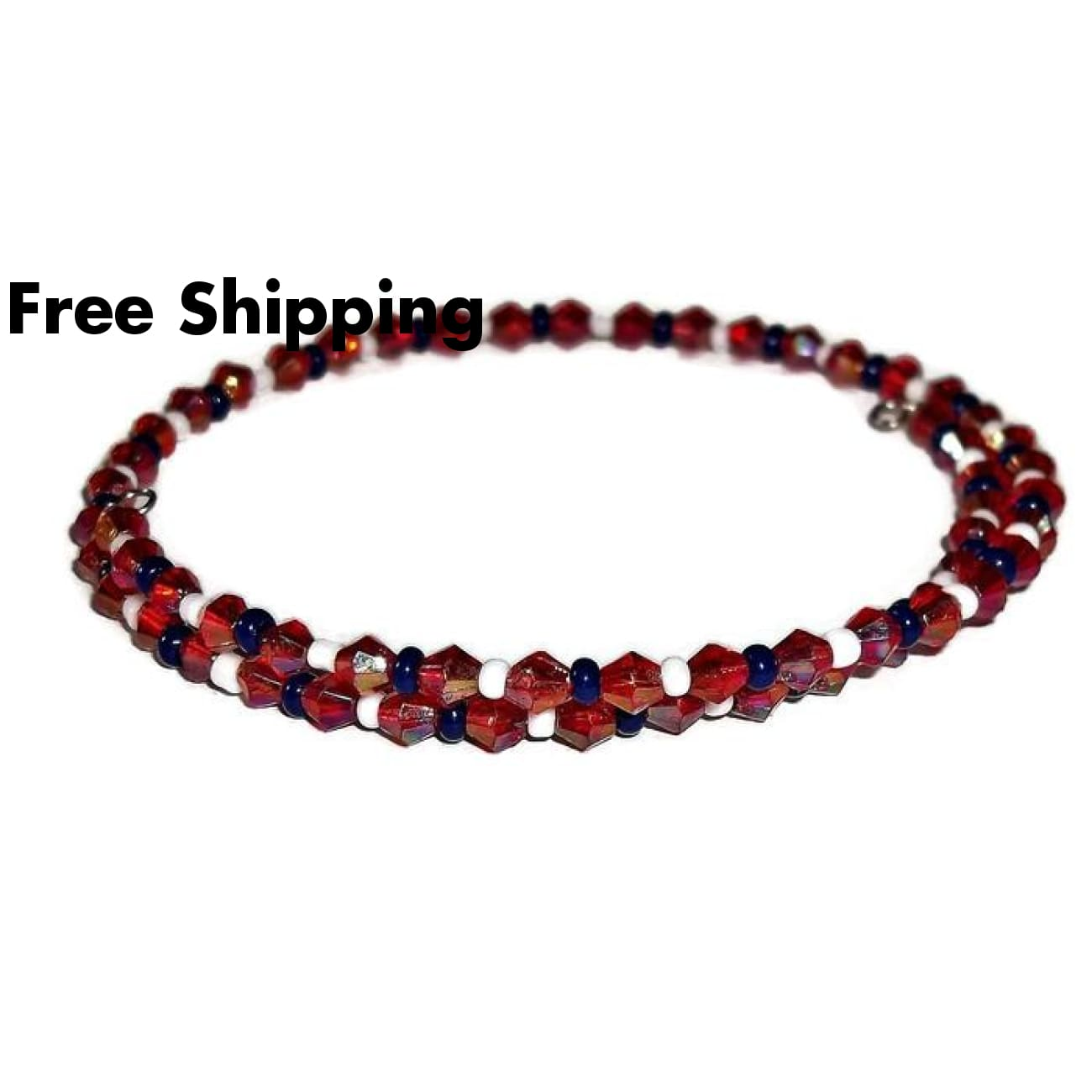 Plus Size Elegance Dark Red Crystal Navy Blue And White Glass Beaded Stackables Wrap Bracelet (L-Xxl) - New Arrival