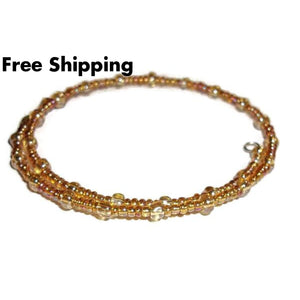 Plus Size Elegance Golden Yellow Carnival Glass Artisan Crafted Stackable Wrap Bracelet (L-Xxl) - New Arrival