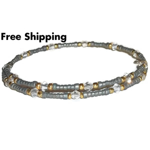 Plus Size Elegance Grey Myuki Beads Gold &clear Glass Beaded Stackables Artisan Crafted Bangle Wrap Bracelet - New Arrival