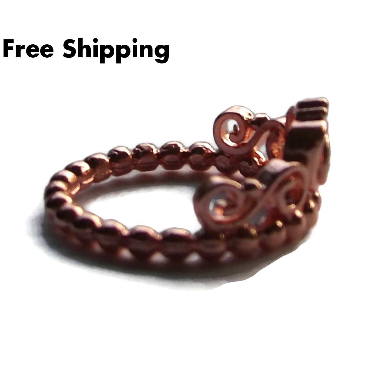 Plus Size Elegance Heart Cz Rose Gold Filled Rope Twist Band Ring (Sz 9) - New Arrival
