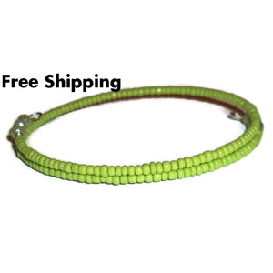 Plus Size Elegance Lime Green Glass & Faceted Peridot Green Crystal Beaded Stackables Artisan Crafted Wrap Bracelet (L-Xxl) - New Arrival