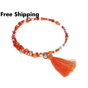 Plus Size Elegance Orange & White Glass Beaded Artisan Crafted Stackable Wrap Bracelet W/ Tassel (L - Xxl) - New Arrival