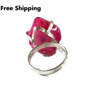 Plus Size Elegance Pink Polished Slice Geode Druzy Silver Plated Statement Ring (Sz 8) - New Arrival