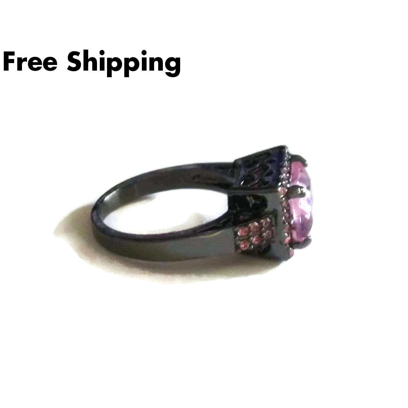 Plus Size Elegance Pink Topaz 35 Stone Gunmetal Statement Ring Sz9 - New Arrival