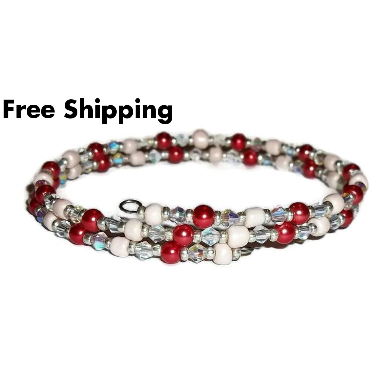 Plus Size Elegance Red Glass Pearl Clear Glass & Cream Glass Beaded Stackables Artisan Crafted Double Wrap Bracelet (L-Xxl) - New Arrival