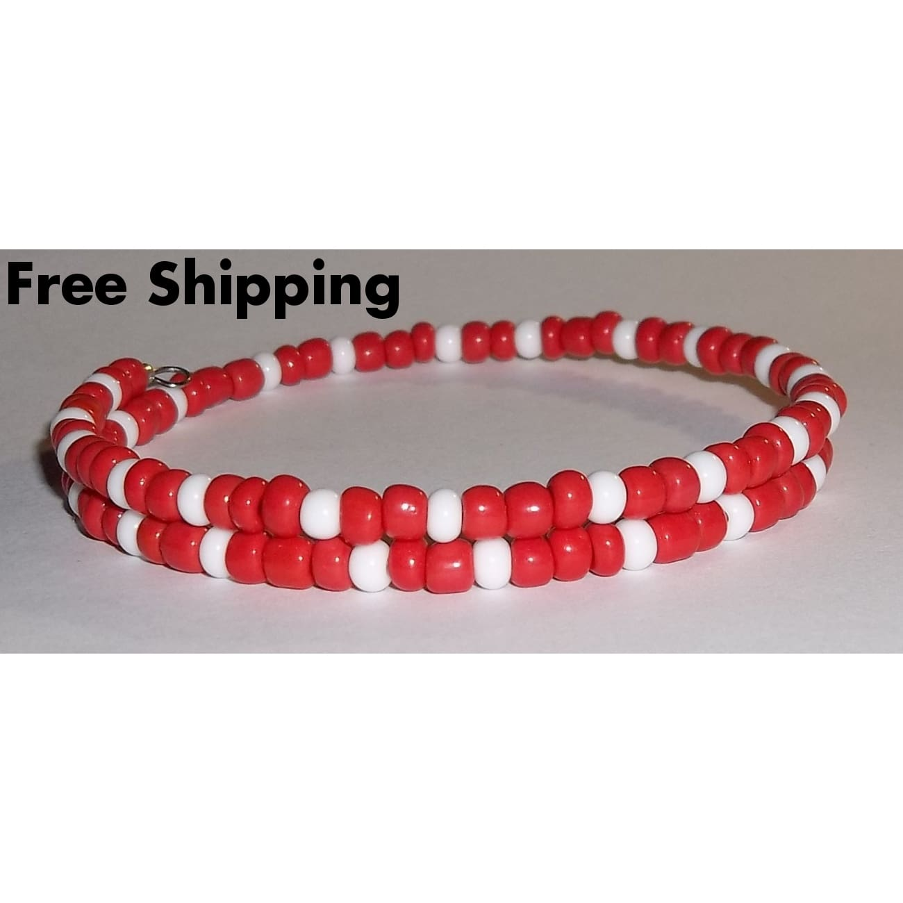Plus Size Elegance Red-Orange & White Glass Beaded Artisan Crafted Stackable Bracelet - New Arrival