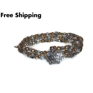 Plus Size Elegance Worlds Greatest Mom Clear Pale Yellow & Pale Blue Swarovski Crystal Beaded Silver Artisan Crafted Wrap Bracelet (L-Xl) -