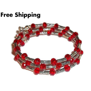 Plus Size Elegance Worlds Greatest Mom Red Swarovski Crystals Silver Artisan Crafted Wrap Bracelet(L-Xl) Mothers Day Gift Birthday Gift Gift