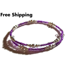 Purple Lined Glass Seed Bead & Silver Plated Accent Bead Artisan Crafted Stackables Wrap Bracelet (Xs-S) - New Arrival