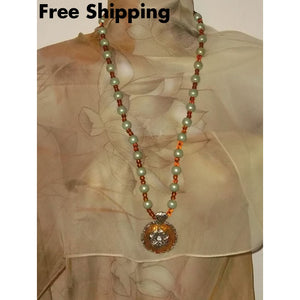 Recycled Vintage Pale Green & Amber Beaded Artisan Crafted Pendant Bracelet & Earrings Statement Jewelry Set - Jewelry Sets