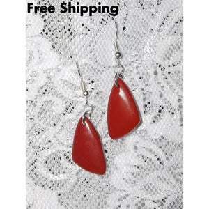 Red Aventurine Triangular Free Form Artisan Crafted Drop Dangle Earrings - Earrings