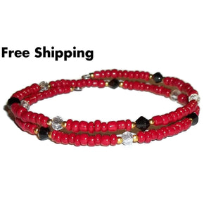 Red & Black Glass & Clear Shimmering Crystal Artisan Crafted Stackables Bracelet (S-M) - New Arrival