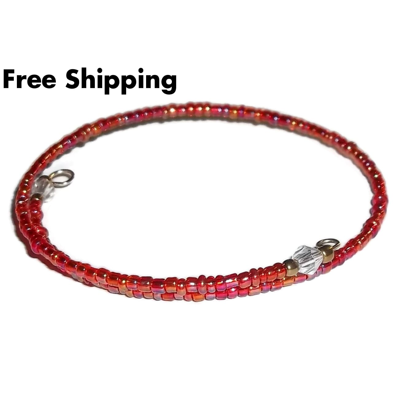 Red Carnival Glass Beaded Artisan Crafted Stackable Wrap Bracelet (S-M) - New Arrival