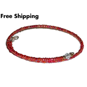 Red Carnival Glass Beaded Artisan Crafted Stackable Wrap Bracelet (Xs-S) - New Arrival
