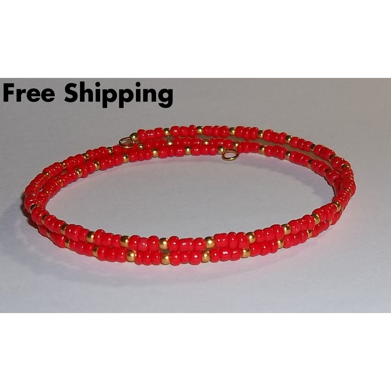 Red & Gold Glass Beaded Artisan Crafted Stackables Wrap Bracelet (S-M) - New Arrival