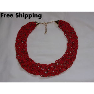 Red & Gold Tone Braided Glass Bead Bib Necklace - Necklaces