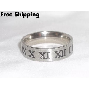Roman Numeral Unisex Rocker Stainless Steel 6Mm Band (Sz 10) - Rings