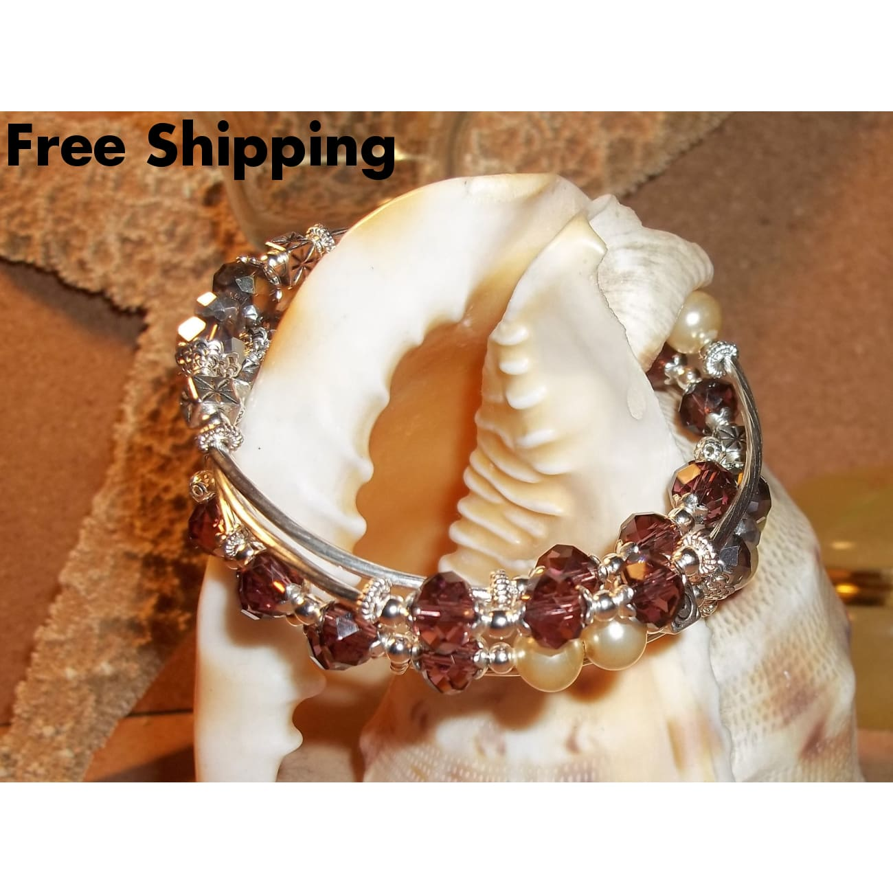 Rose & Silver Swarovski Crystals W/ Cream Pearl Bead Hand Crafted Silver Wrap Bracelet - Bracelets