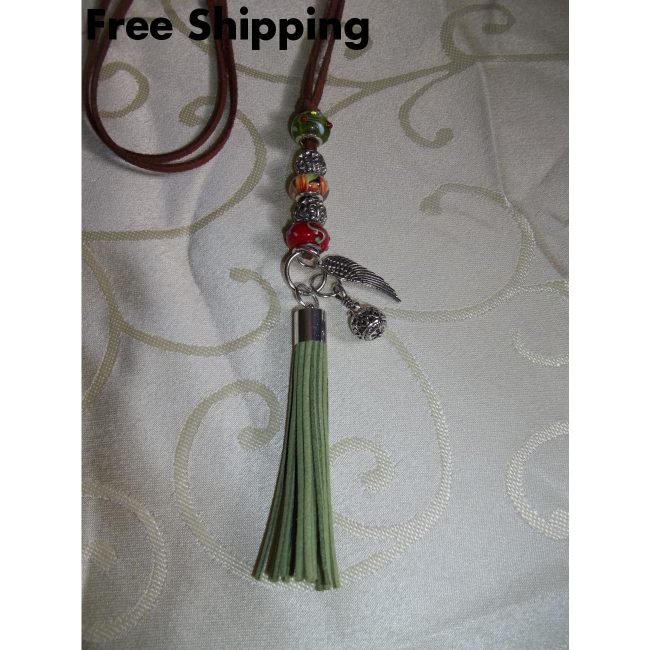 Sage Green & Red Hand Crafted Leathertassel 28 Leather Thong Necklace - Pendants