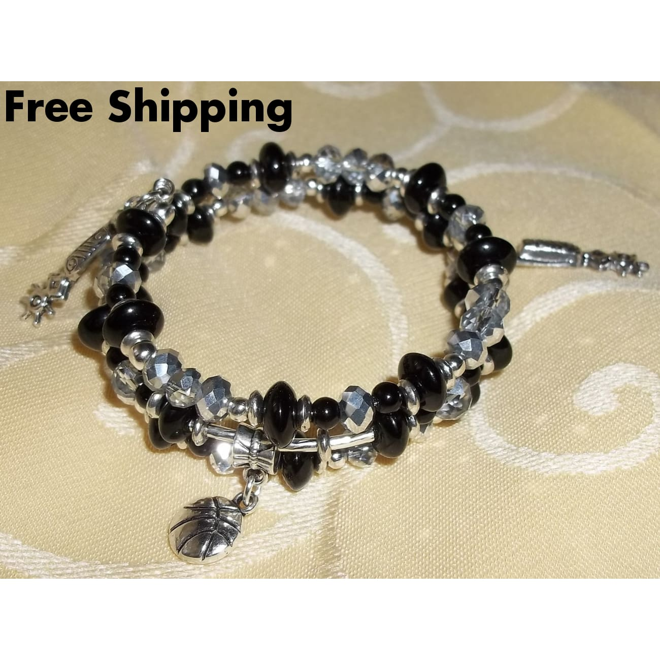 San Antonio Spurs Themed Black Onyx & Silver Swarovski Crystal Beaded Hand Crafted Wrap Bracelet - Bracelets