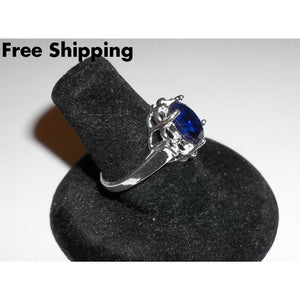 Sapphire 2Ct (Man Made) .925 Sterling Silver Ring Sz8 - Rings