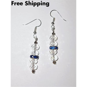 Sapphire Blue & Clear Swarovski Crystal September Birthstone Artisan Crafted Drop Earrings - New Arrival