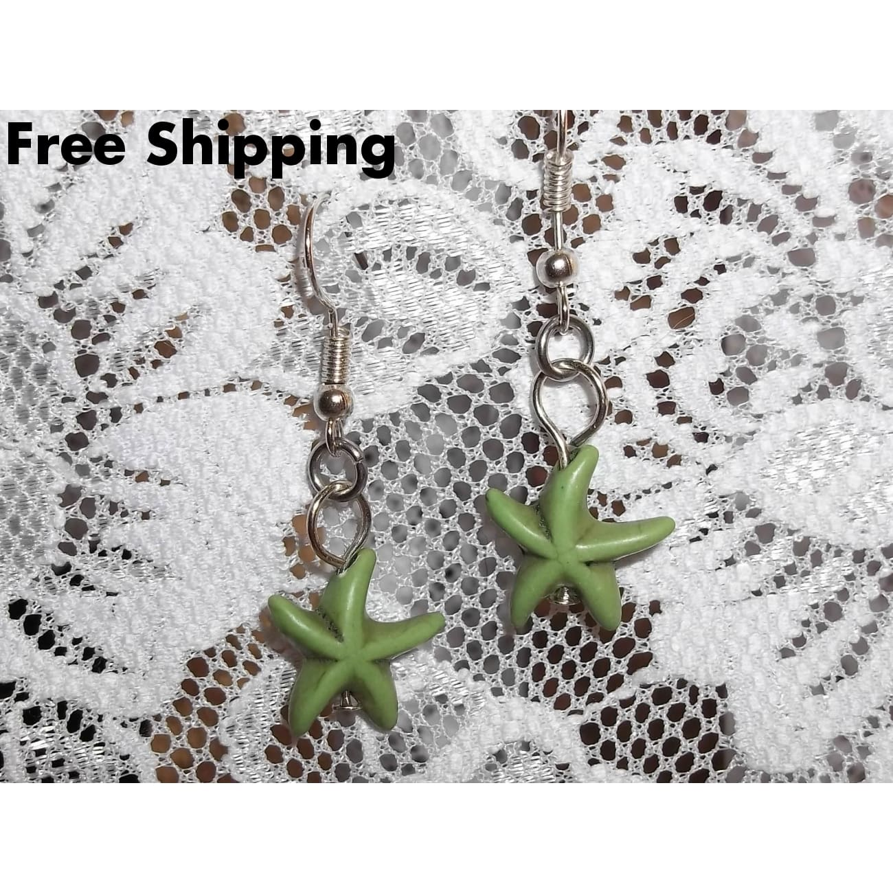 Sea Green Howlite Starfish Silver Plated Artisan Crafted Dangle Earrings - Vintage Handcrafted Artisan