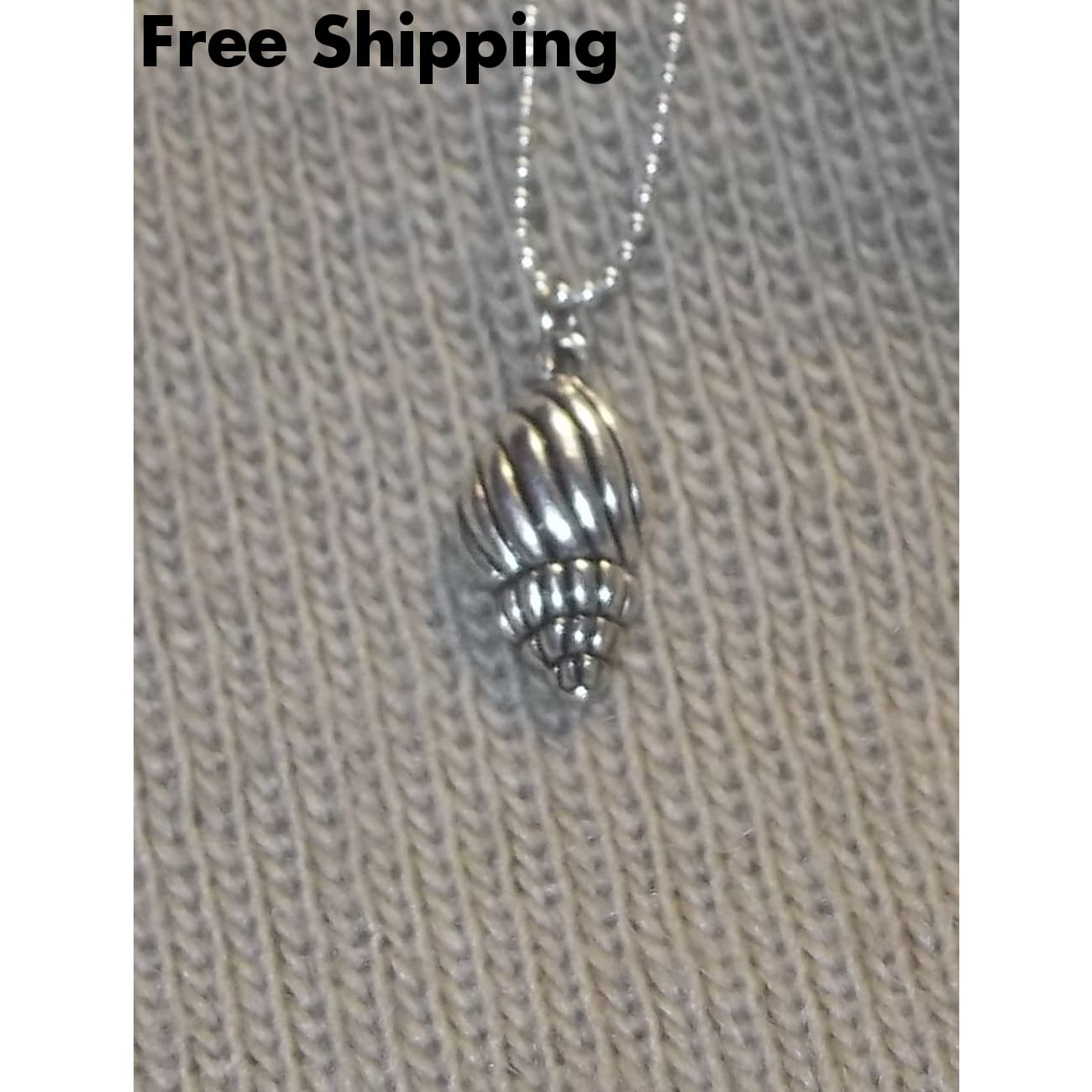 Sea Shell Tibetan Silver Pendant On A 16 18Kwgf Ball Chain - Pendants