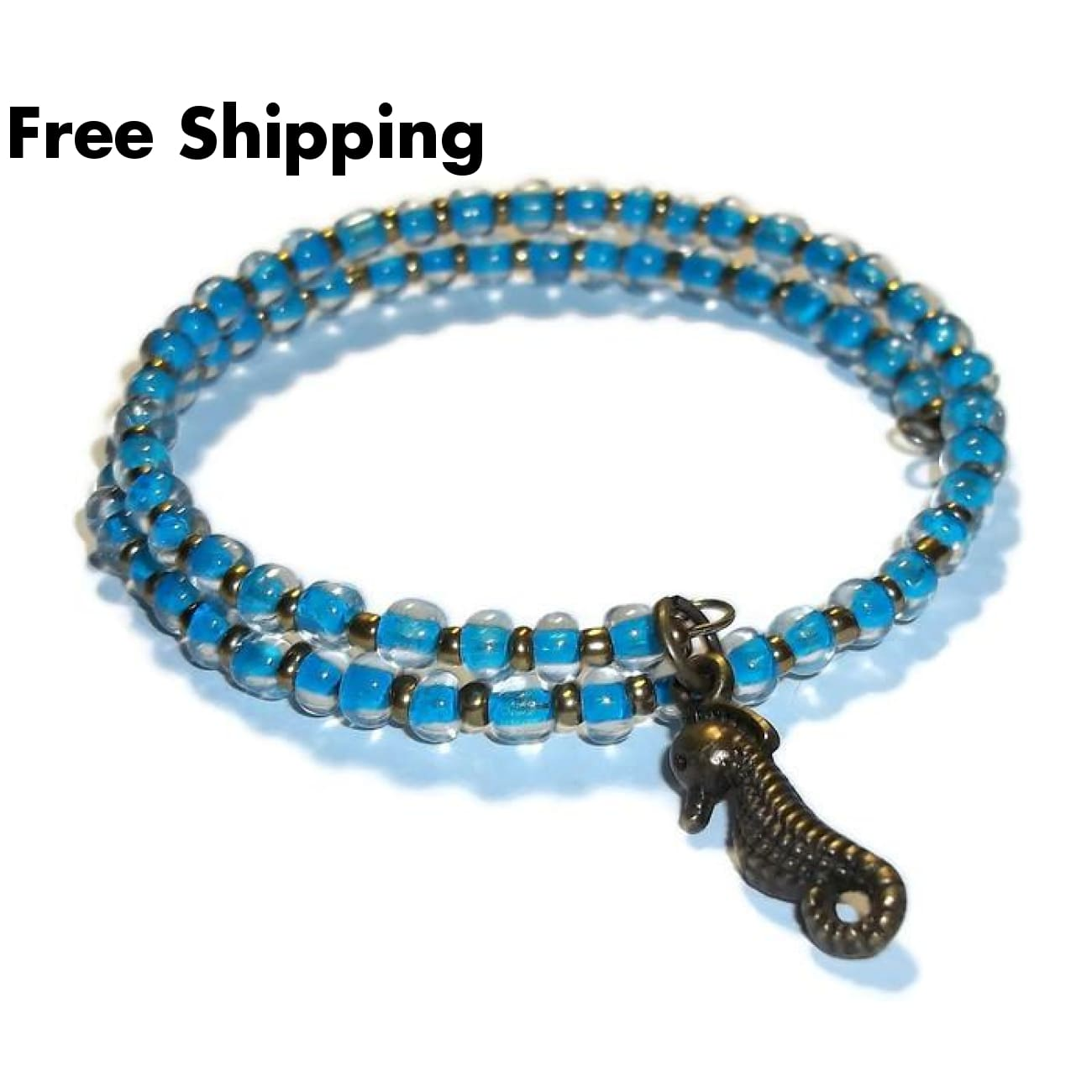 Seahorse Neon Blue Glass Bronze Artisan Crafted Stackables Adjustable Bracelet (Xs-S) - New Arrival