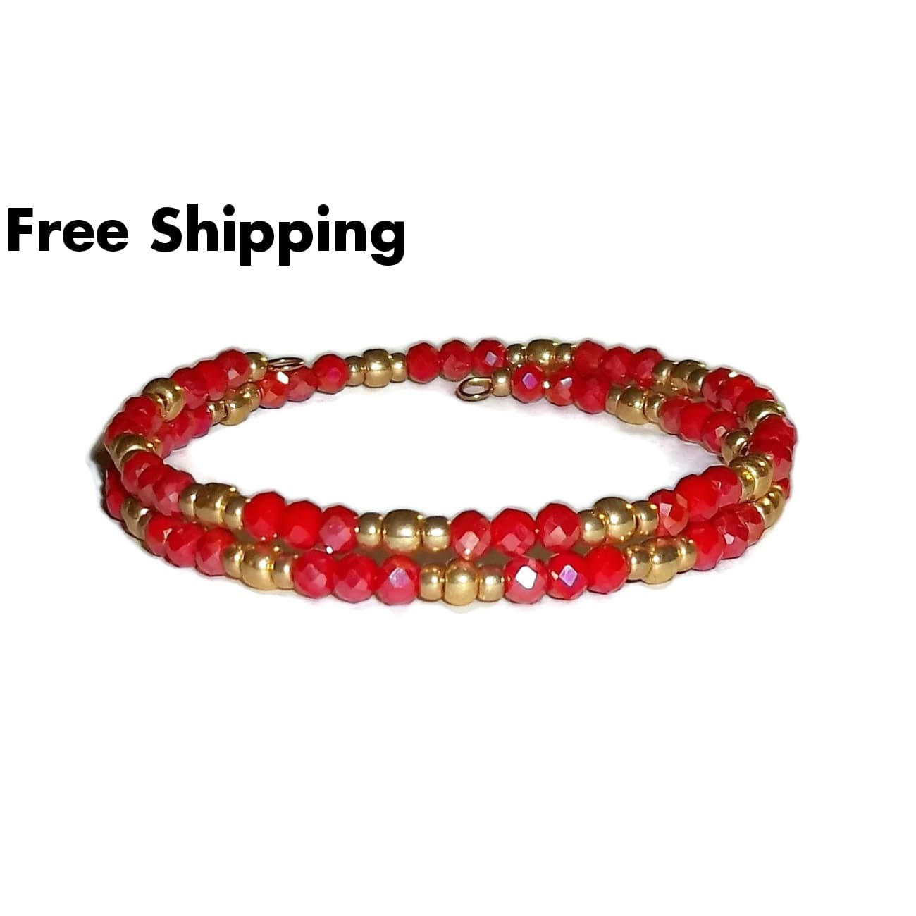 Shimmering Red Opaque Swarovski Crystals & Gold Glass Bead Artisan Crafted Stackables Bracelet (S-M) - New Arrival