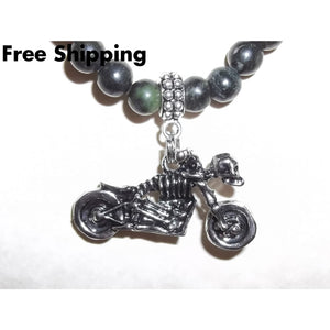 Skeleton Motorcycle Stainless Steel Rocker Goth Green Black Stone Beaded 22 Pendant - Pendants